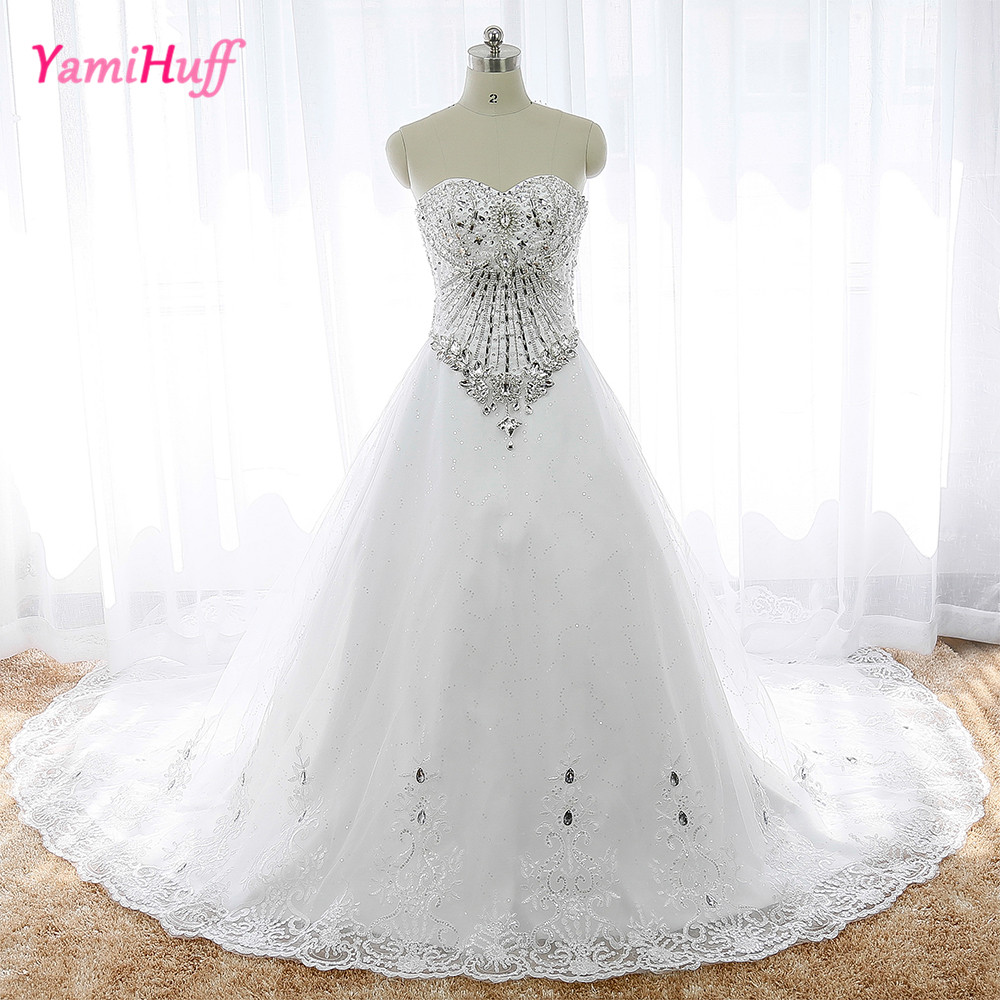 Elegant Diamond Crystal Bling Wedding Dresses Chapel Train