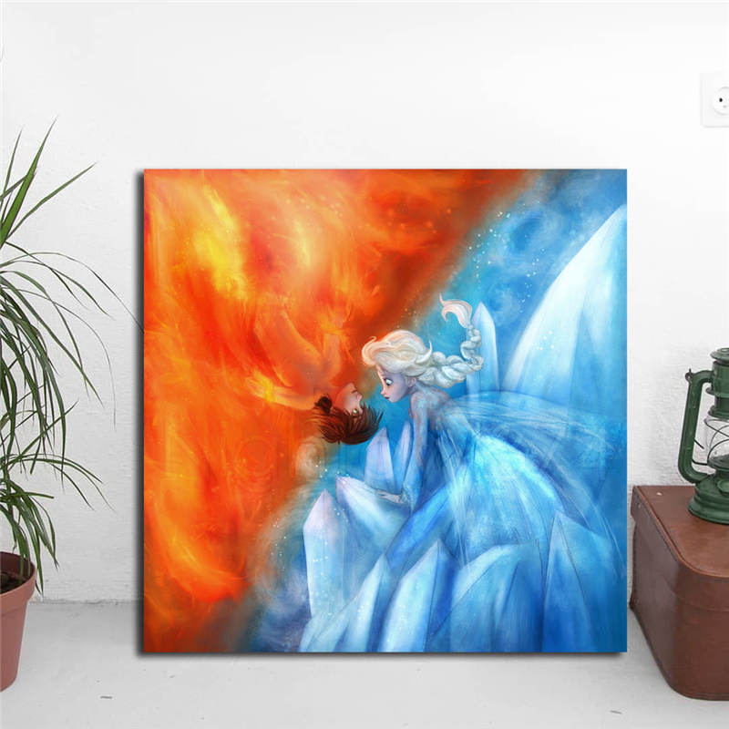 Us 5 7 5 Off Hiccup And Elsa Fire Ice Minimalist Watercolor Art Canvas Poster Painting Wall Picture Print Home Bedroom Decoration Accessories In