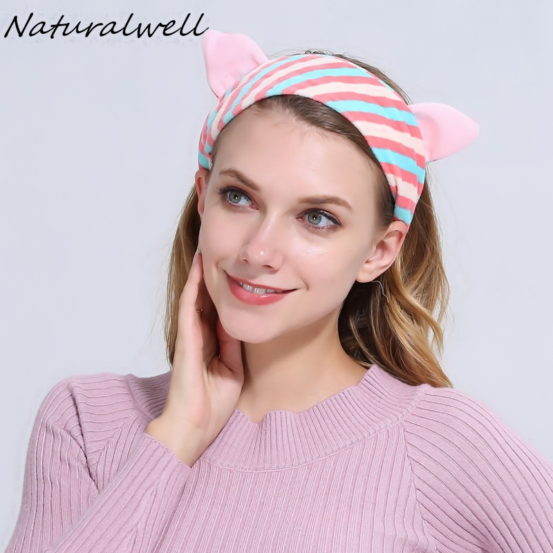 d16ca22cd Naturalwell اليوغا حك لطيف آذان القط لينة العصابة للمرأة الفتيات عمامة  قبعات الفتيات غسل الوجه و تشكل WH269