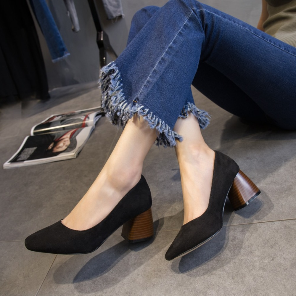 GOXPACER Spring Women Shoes Pointed Toe Flock Nubuck Women Pumps Thick Heels Strange Style Slip On Shallow Single Shoes Fashion 6