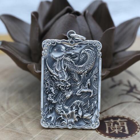 купить NEW! 100% 990 Silver Dragon Pendant Vintage 990 Silver Power Dragon Pendant Cross Jewelry Necklace Pendant онлайн