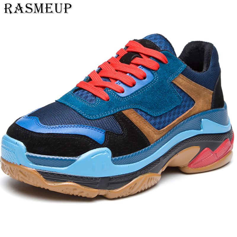 RASMEUP Genuine Leather Mesh Women s Chunky Sneakers 2019 Fashion Brand Flat Platform Women Trainers Shoes