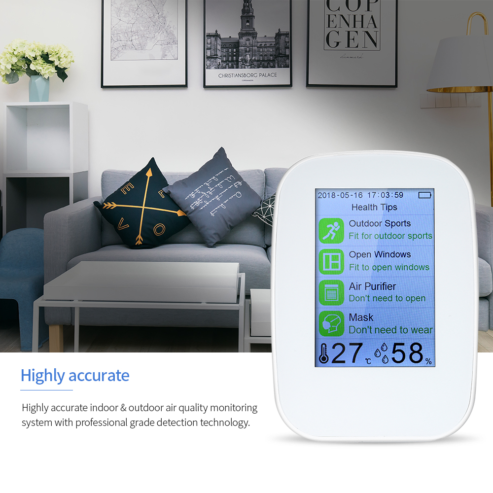 Air Quality Detector Indoor Outdoor HCHO TVOC Tester CO2 Meter Monitor Tester with Rechargeable Battery