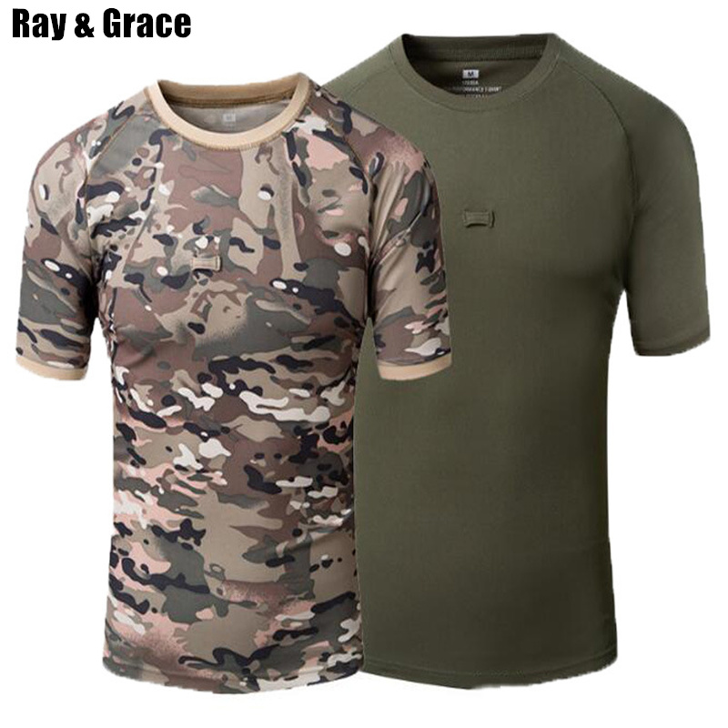 RAY GRACE Summer Hiking Outdoor T-Shirt Men Quick Drying Breathable Military Camouflage Hunting T Shirt Mountain Climbing Tops