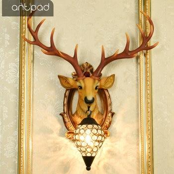 Artpad American Vintage Bedroom Living Room Wall Lamp With Crystal Lampshade Antler Horn Deer Wall Light Home Lighting Decor