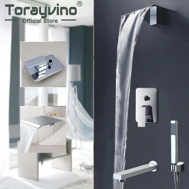 Bathtub Rainfall Shower Head Wall Mouned 360 Degree Swivel Panel Mixer Wall Mounted Message Shower Set With Hand Shower