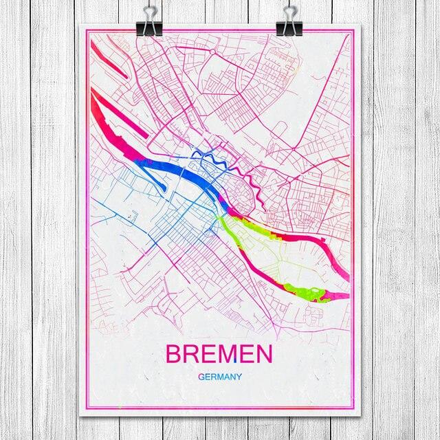 Bremen Deutschland Moderne Bunte World City Karte Drucken Poster