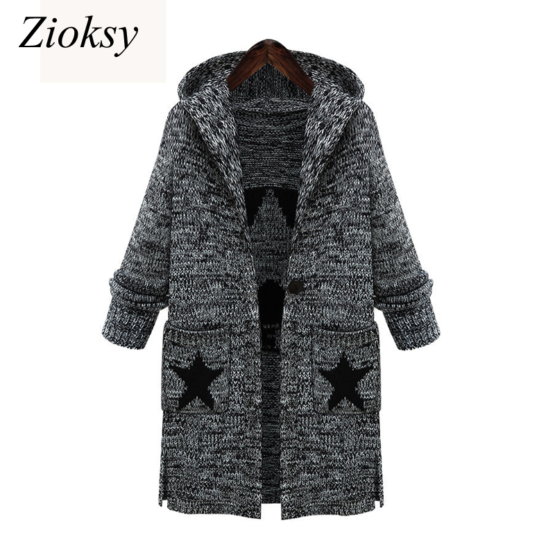 2017 Autumn Winter Women Fashion Hooded Collar Knit