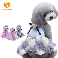 Dog Dress Puppy Clothes Wedding Princess Skirt Flower Bowknot Puppy Cat Dresses For Dogs Teddy Summer