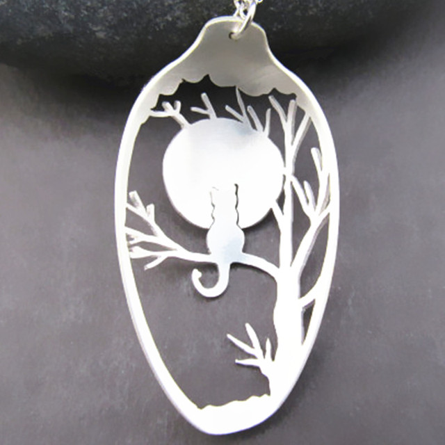 Retail cat tree spoon necklace unique handmade pendant handcrafted retail cat tree spoon necklace unique handmade pendant handcrafted silver plated lover black friday christmas gifts aloadofball Choice Image