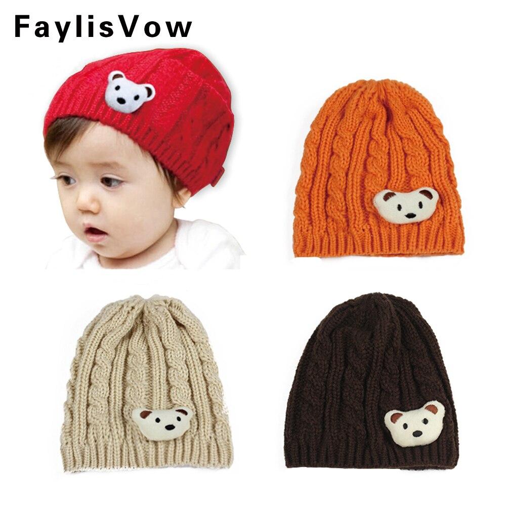Clearane Baby Beanies Boy Girl Cotton Hat Infant Soft Cap Toddler Cartoon Bear Warm Knitting Hats Kid Autumn Winter Thermal Caps