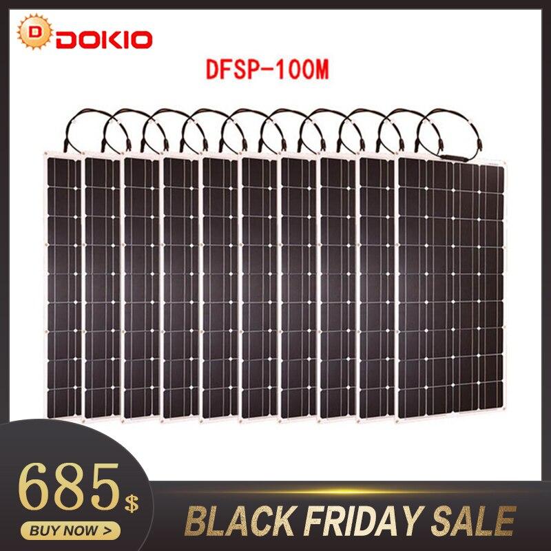 Dokio Brand 10p Flexible Solar Panel 100W Monocrystalline Waterproof Flexible Panel Solar 1000W For Motorhome/Camping/Boat/Car