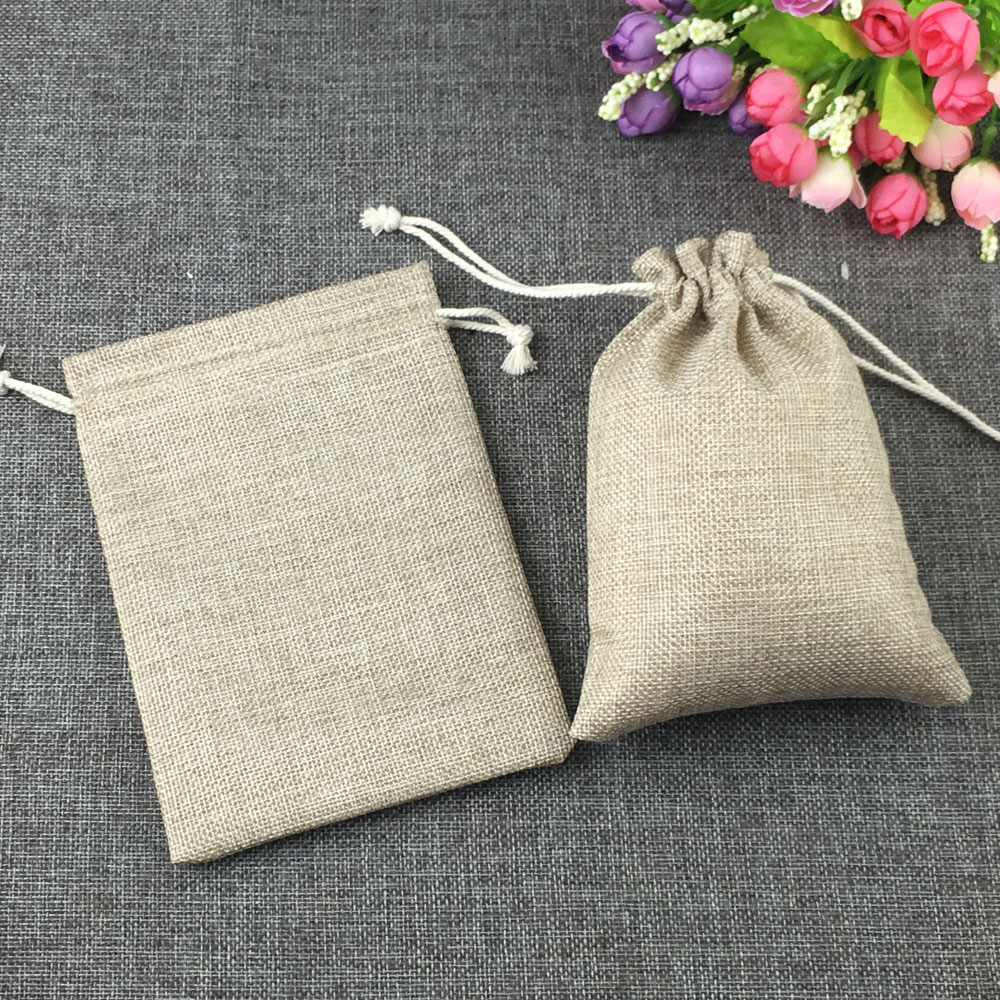 ᗗ1 pcs mode naturel cadeaux jute sac fil de coton cordon sacs