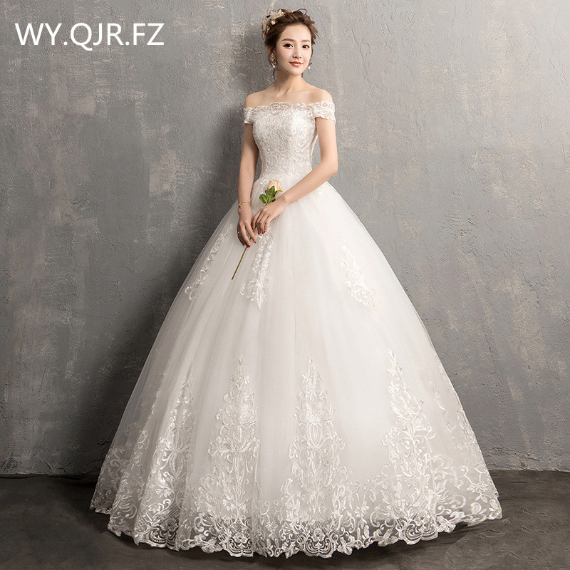 HMHS Y790 Boat Neck Bride s wedding dress White Ball Gown lace up long wholesale cheap