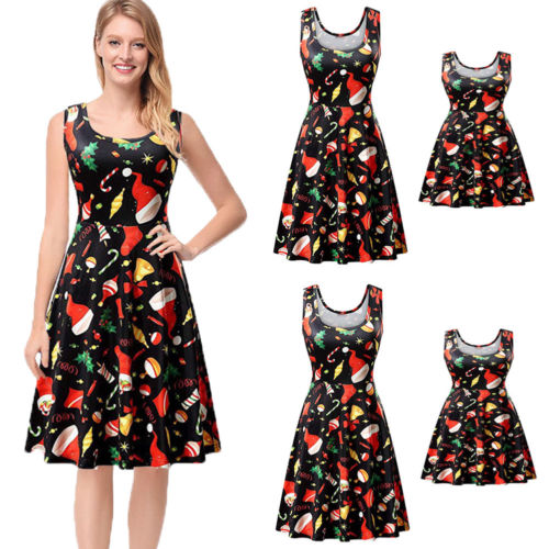 Hot Xmas Sleeveless Dress Family Match Dress Mother Daughter Matching  Floral Women Girl Christmas Party Short Maxi Dress-in Matching Family  Outfits from ... 517b8e093b1d