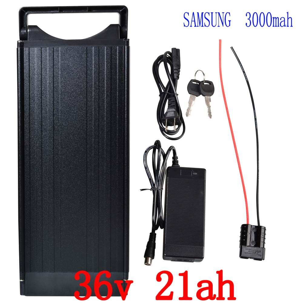 Rechargeable 1000W 36V 21AH Electric Bike battery 36V Lithium Battery Use samsung 30B 18650 cell with 15A BMS 42V 2A charger free customs fee 36v 25ah battery 1000w 36 v 25ah lithium battery pack with tail light use 2500mah 18650 cell 30a bms 2a charger