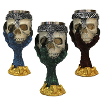 Double Wall Resin Stainless Steel 3D Skull Drinking Mug Personalized Dragon Bone Skull Whiskey Vodka Wine Goblet Cup