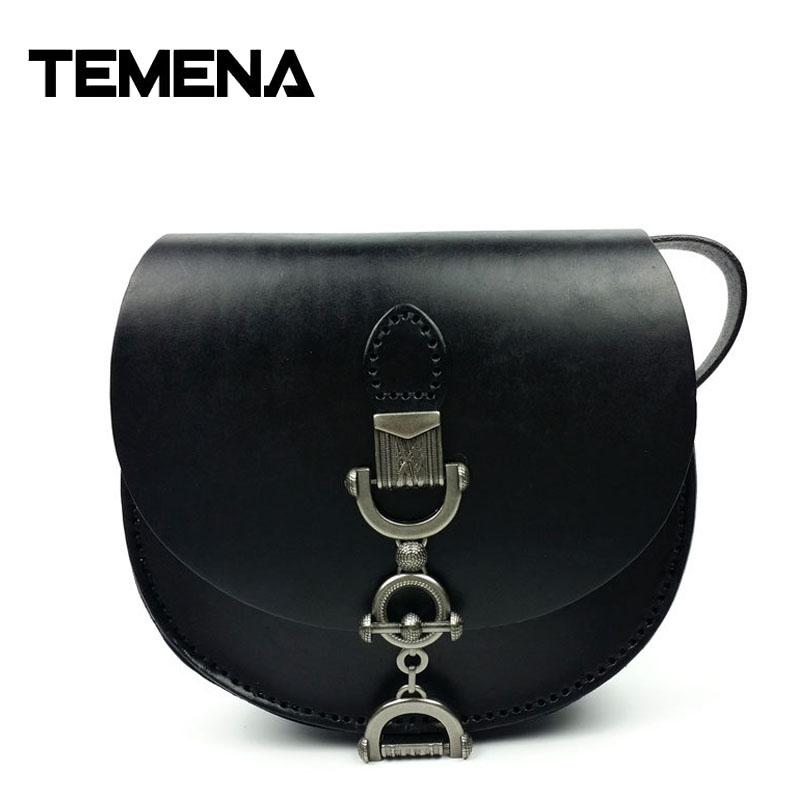 Temena Vintage Genuine Vegetable Tanned Leather Cowhide Women Small Messenger Bag Shoulder Crossbody Bag Bags For Ladies AMB497 zooler brand genuine leather shoulder bags for women casual messenger bag ladies small cowhide leather crossbody bags sac a main
