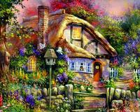 Mosaic Full Diamond Embroidery Landscape Diamonds Painting Mountain Huts Picture Diy 5d Cross Stitch Kits Handwork