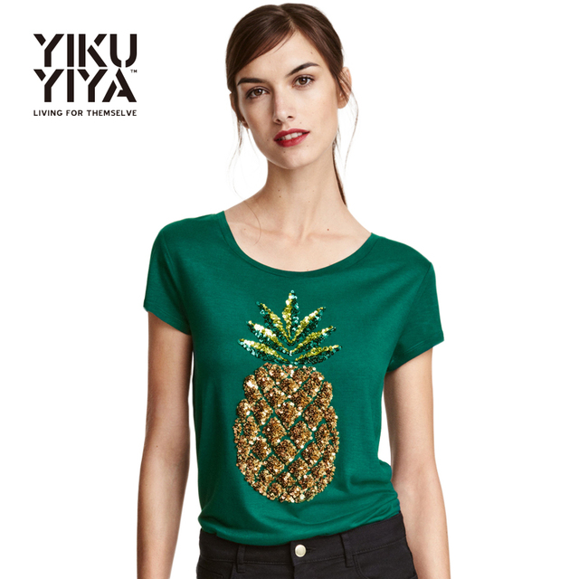 7db3a59a YIKUYIYA Pineapple Printed Sequin T-shirts Women 2017 Short Sleeve Green  Pullover Tops Ladies O-neck Loose Casual Tees Female