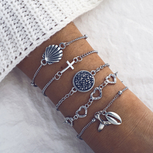 Cuteeco 5 Pcs/set Vintage Silver Shell Cross Fish Tail Hollow Heart Bracelet Set Women Party Jewelry Bohemian Accessories Gifts