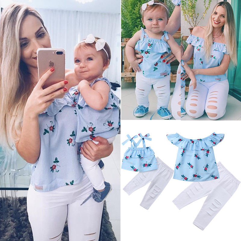 Summer Family Matching Mother Daughter Floral Print Striped Sleeveless Tops Hole Pants Clothes Mom Girl Kid Family Look Clothing(China)