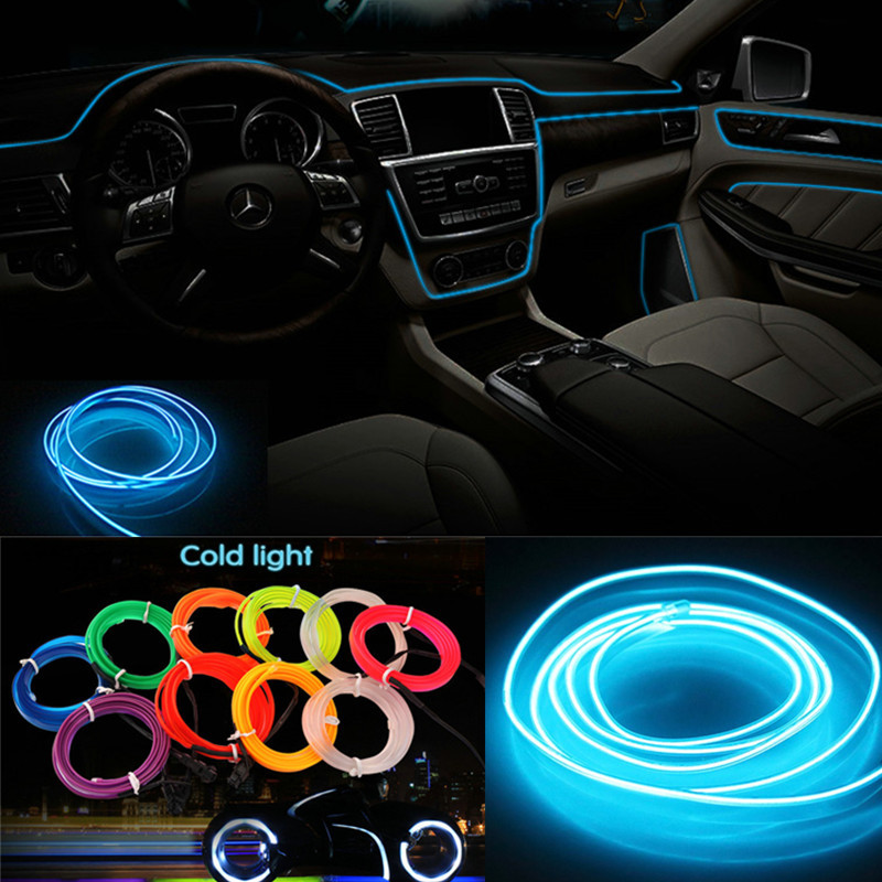 3m/5m Car 12V LED Cold lights Flexible Neon EL Wire Auto Lamps on Car Cold Light Strips  ...