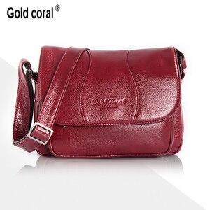Image 2 - Altın mercan hakiki deri bayan omuz çantaları lüks kadın çanta kadın moda Crossbody çanta kadın büyük el çantası çanta
