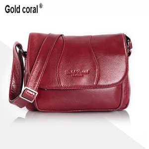 Image 2 - GOLD CORAL Genuine Leather Ladies Shoulder Bags Luxury Womens Handbag Female Fashion Crossbody Bags for Women Tote Purse