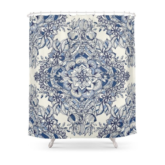 Floral Diamond Doodle In Dark Blue And Cream Shower Curtain