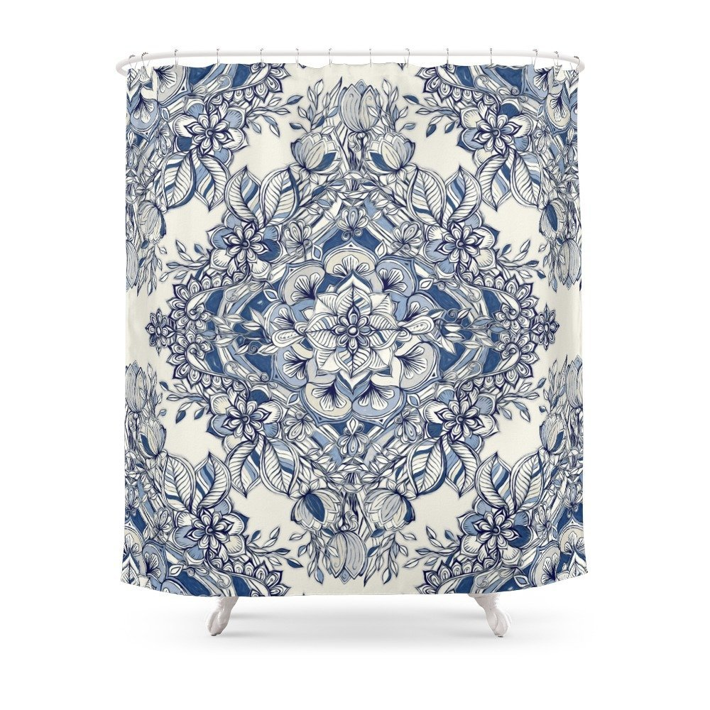 Floral Diamond Doodle In Dark Blue And Cream Shower Curtain Waterproof Bathroom Shower Curtains Shower