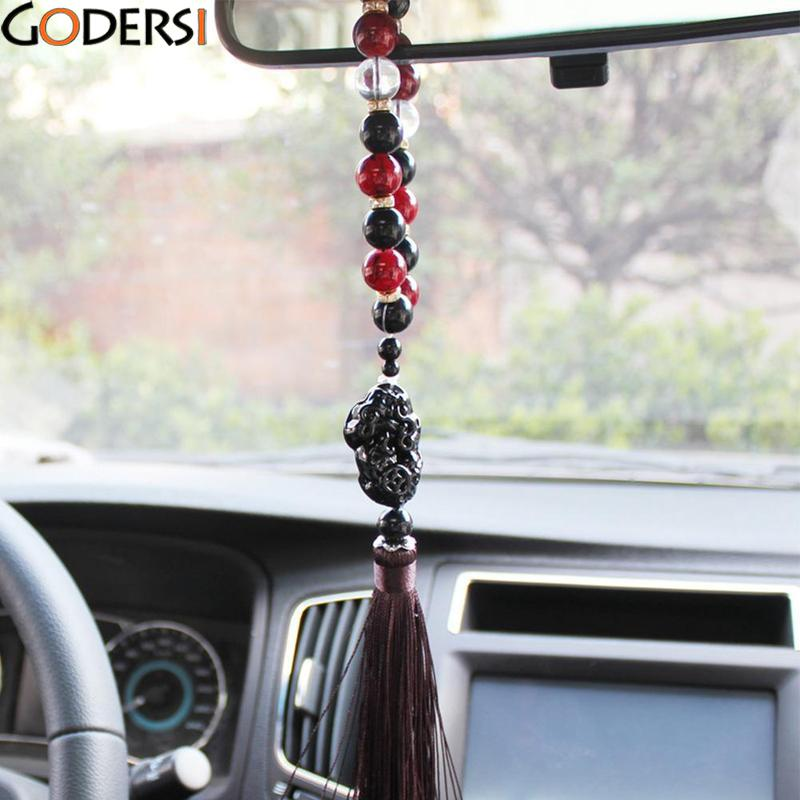 Godersi Car Ornaments Beads With Brave Troops Auto Interior Rearview Mirror Hanging Pendant Stalls Decoration Accessories Gifts