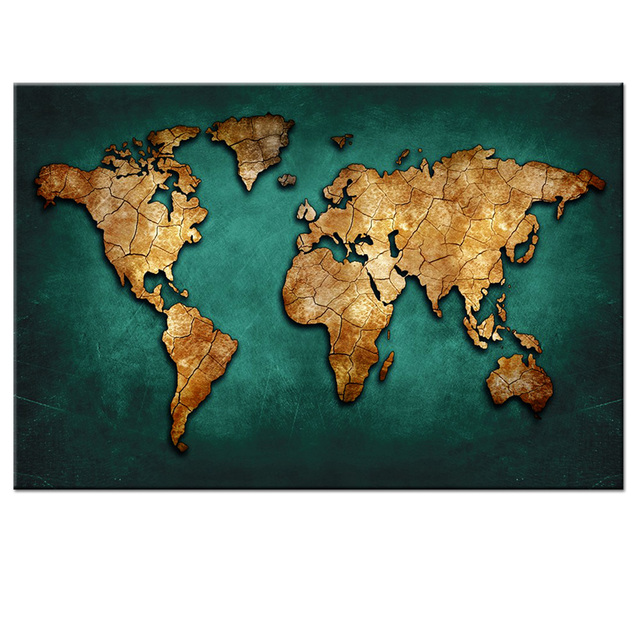 World Map Painting 1 P Huge Black World Map Paintings Print On Canvas HD Abstract