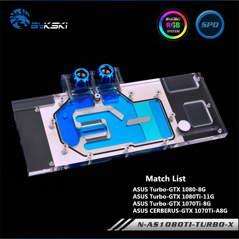 Bykski Full Cove GPU Water Block For VGA ASUS TURBO-GTX1080Ti 1080 Graphics Card N-AS1080TI-TURBO-X image