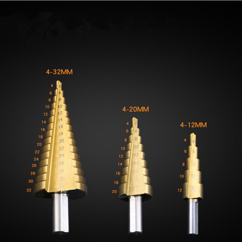 Steel High Speed Triangle Handle drill Woodworking  Titanium Hardening 4-12 / 20 / 32mm Metal Step drills Electric tools step drill bits with titanium nitride coating free shipping high speed steel 6542 m2 pagoda drill ladder drill for holes 4 20mm