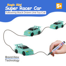 Magic Pen Inductive Car Follow Any Drawn Black Line Track Mini Toy Engineering Vehicles Educational Toys for Children Gift 2018(China)