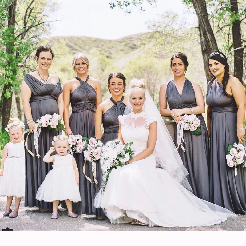5ee748776c7 Charcoal Grey Bridesmaid Dress Multiway Long Dress Infinity Maxi Dress  Convertible Floor Length Dress With Halter Style