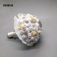 Nuevo llegado crema y blanco crystal novia de la boda ramos de novia artificiales ramos de flores para la decoración de la boda