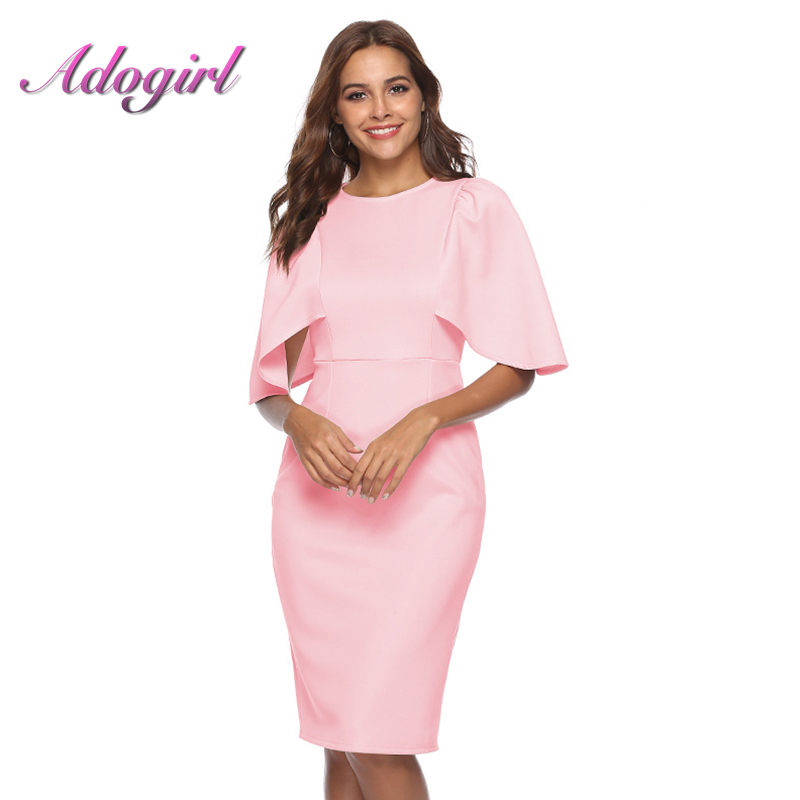 Women Solid Color Midi Dress Elegant Sexy Batwing Sleeve O- Neck Bodycon Party Dresses Office Lady Busniess Dress