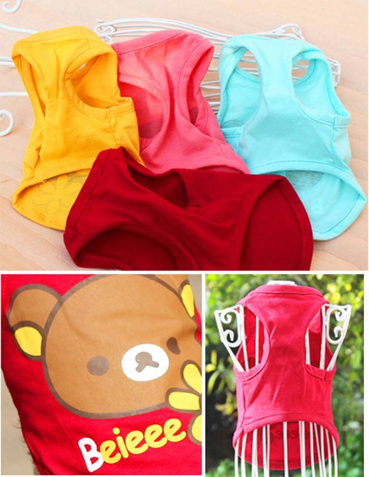 Breathable Pet Apparel Spring Summer Dog Cat Vest Puppy T-shirt Small Dogs Clothes For Chihuahua Youkie XS S M L XL XXL 8 Style14