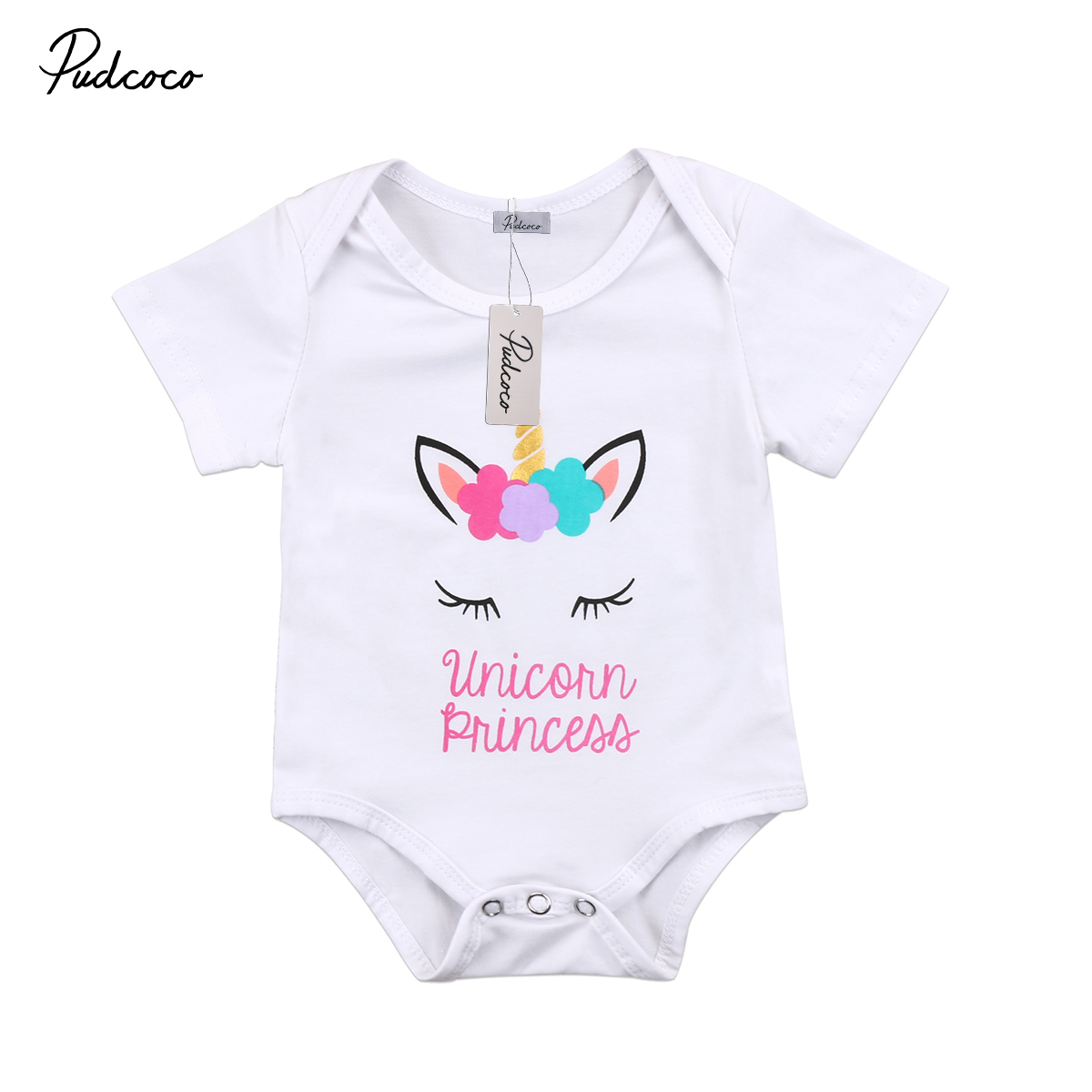 Cute Baby Clothing Newborn Infant Baby Girl Unicorn Short sleeve Romper Jumpsuit Baby Cotton Clothes Outfit 0-18M