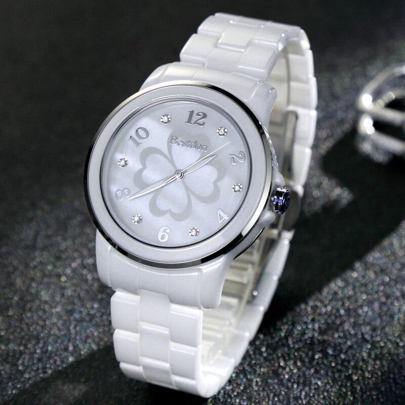 Simple Fashion Watches Women Wrist Watch Diamond Nail Flower Female White Ceramic Quartz-watch Waterproof Lady Relojes 2018 B6