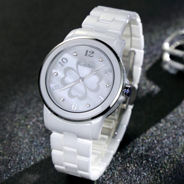นาฬิกาแฟชั่นผู้หญิงนาฬิกาข้อมือเพชรเล็บดอกไม้หญิงสีขาวเซรามิคควอตซ์นาฬิกากันน้ำ Relojes 2018 B6