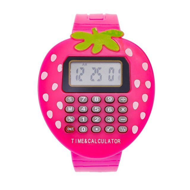 Children Cute Electronic Watch Strawburry Shape Digital Watch Multicolor Silicon