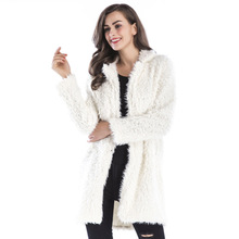2019 Autumn Winter Women Jacket New High-end Coat Elegant Lamb Wool Long-sleeved Lapel Furry Ladies Long Casual Outerwear