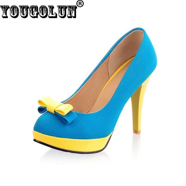 Yougolun mujer bombas de tacón alto plataforma señoras del bowknot talón bombas de las mujeres tacones delgados Sexy zapatos de oficina para las mujeres de Gran tamaño de EE.UU. 9.5