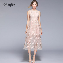 OKOUFEN 2019 Summer Round Neck Pink Sleeveless Vest Maxi Dress Embroidered Dress цена 2017