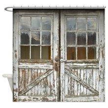 Antiguo Vintage puertas de madera ducha estera de cortina decorativa impermeable de poliéster tela baño cortina conjunto de baño decoración de baño Multi-tamaño