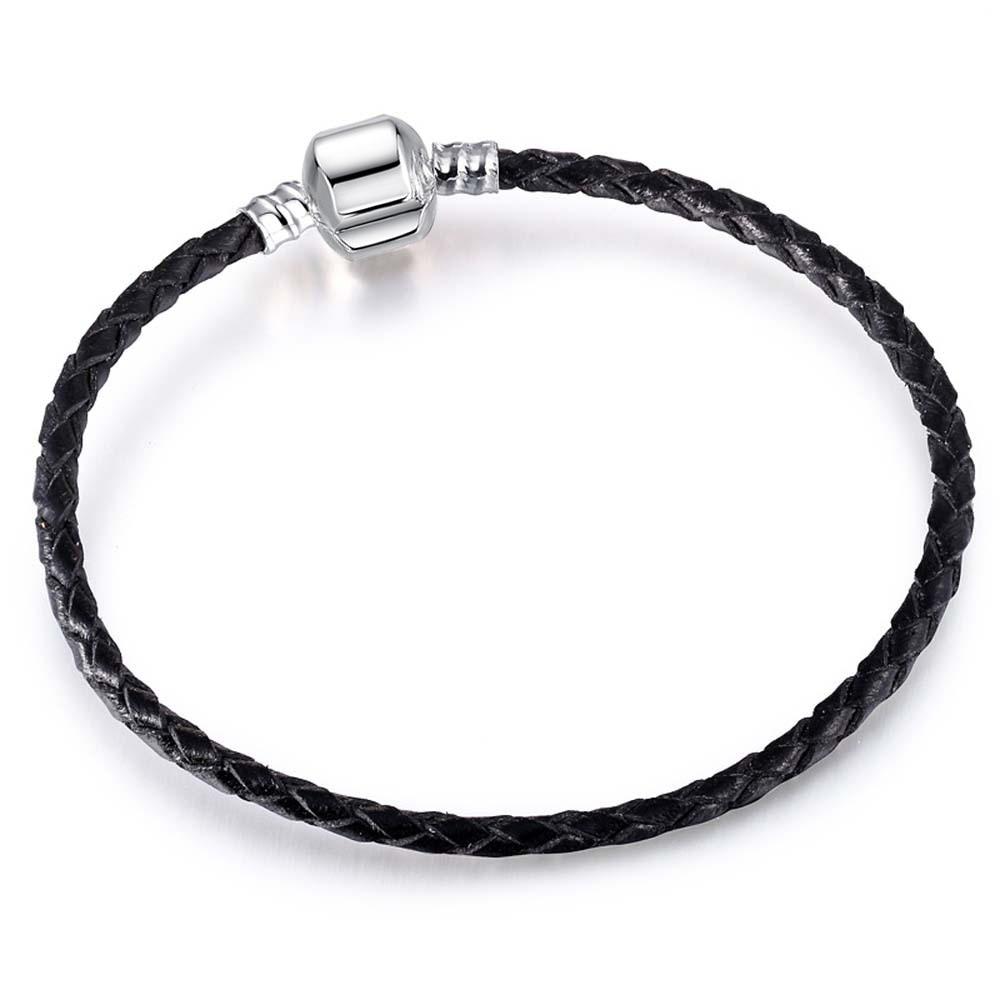 dodocharms Antique Silver Color Snap Clasp Snake Chain Charm Fit Women Bracelet For Men Bangle European DIY Origina Bead