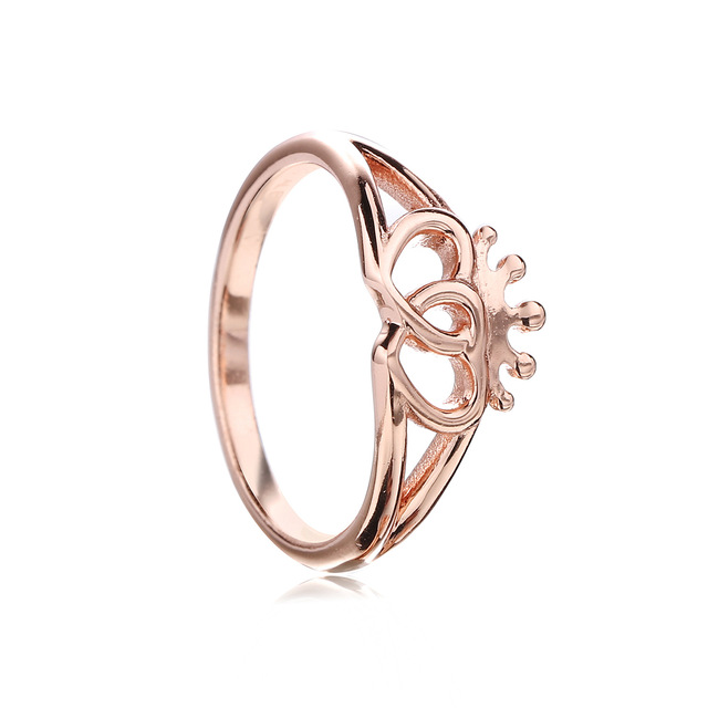 ff9e27731 Newest 925 Sterling Silver Original Rose Gold Double Heart Crown Pan Ring  With Clear Cubic Zirconia For Women Jewelry